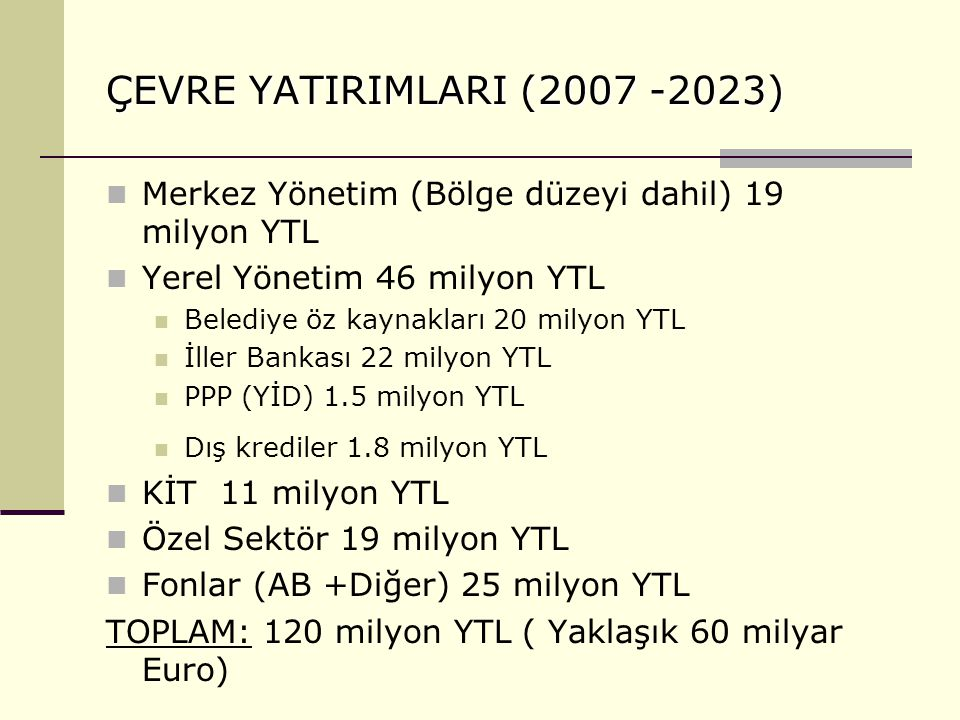 ÇEVRE YATIRIMLARI (2007 -2023) Merkez Yönetim (Bölge düzeyi dahil) 19 milyon YTL Yerel Yönetim 46 milyon YTL Belediye öz kaynakları 20 milyon YTL İlle