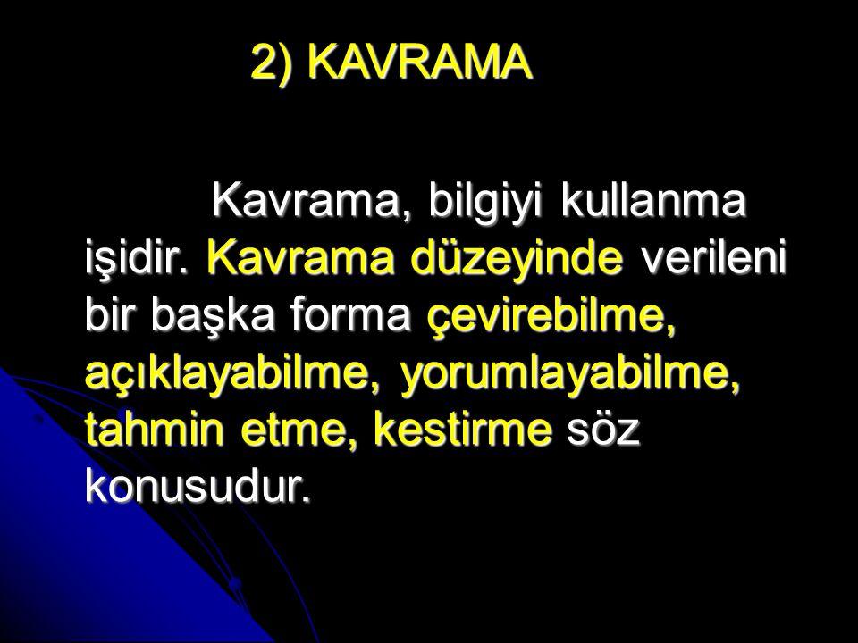 2) KAVRAMA 2) KAVRAMA Kavrama, bilgiyi kullanma işidir.