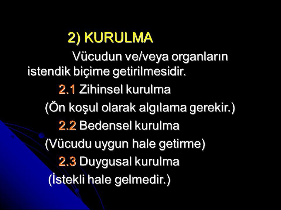 2) KURULMA 2) KURULMA Vücudun ve/veya organların istendik biçime getirilmesidir.