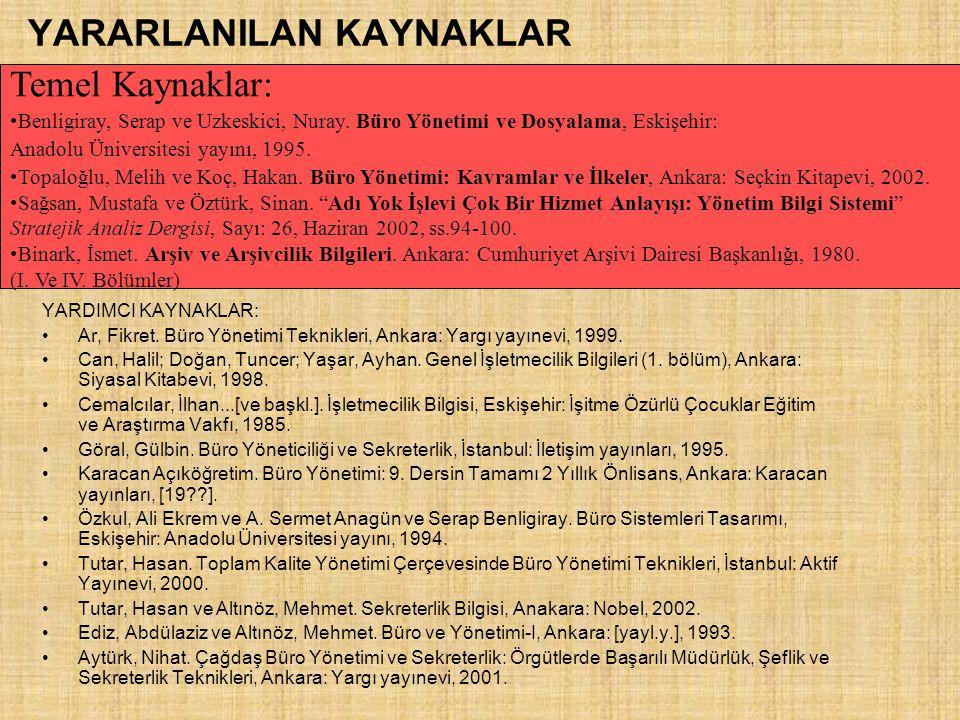 YARARLANILAN KAYNAKLAR YARDIMCI KAYNAKLAR: Ar, Fikret. Büro Yönetimi Teknikleri, Ankara: Yargı yayınevi, 1999. Can, Halil; Doğan, Tuncer; Yaşar, Ayhan