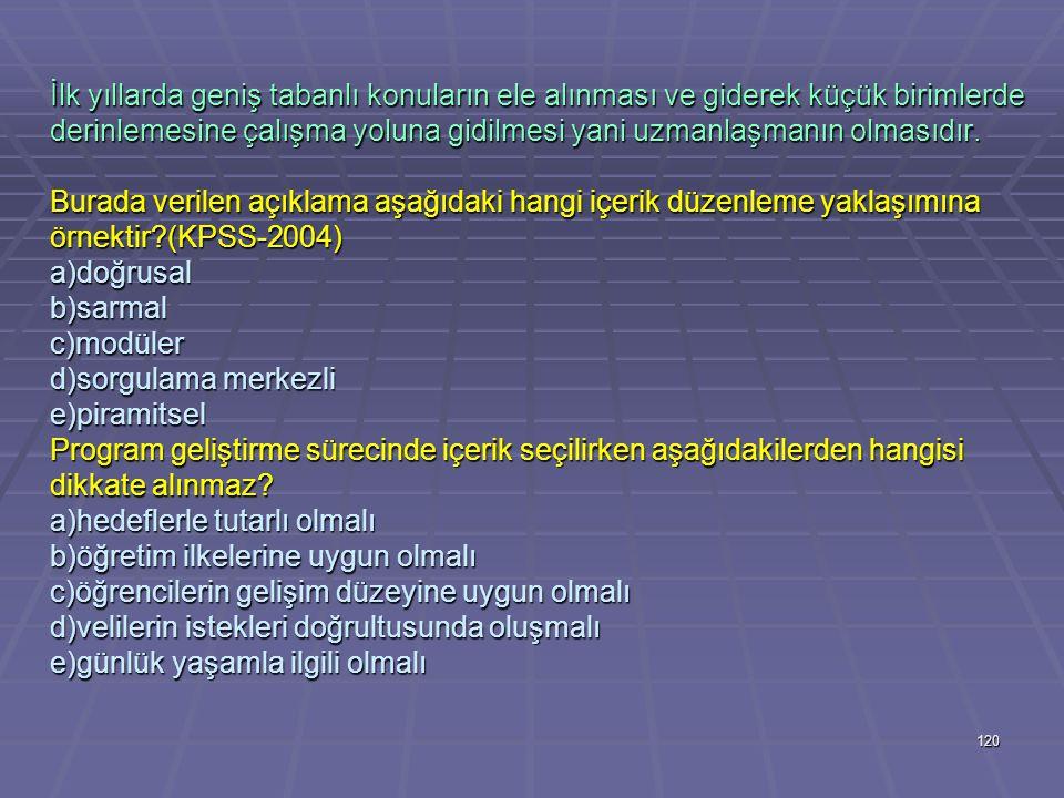 119 Aşağıdakilerden hangisi program geliştirme sürecinde kapsam değerlendirilirken yanıt aranan temel sorulardan değildir?(KPSS-2003) a)kapsam öğrenci