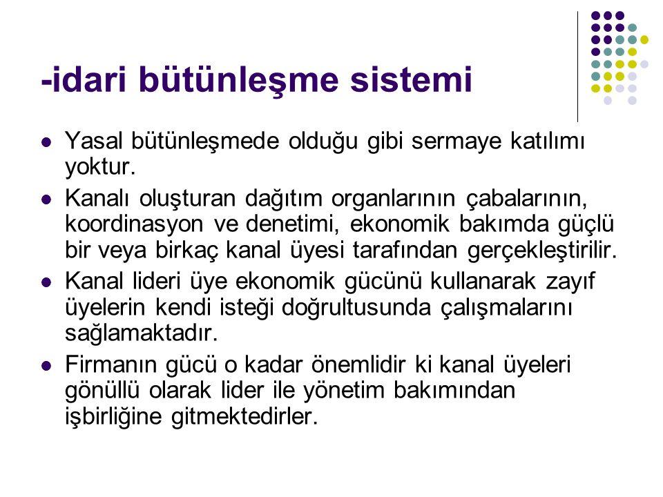 -idari bütünleşme sistemi Yasal bütünleşmede olduğu gibi sermaye katılımı yoktur. Kanalı oluşturan dağıtım organlarının çabalarının, koordinasyon ve d