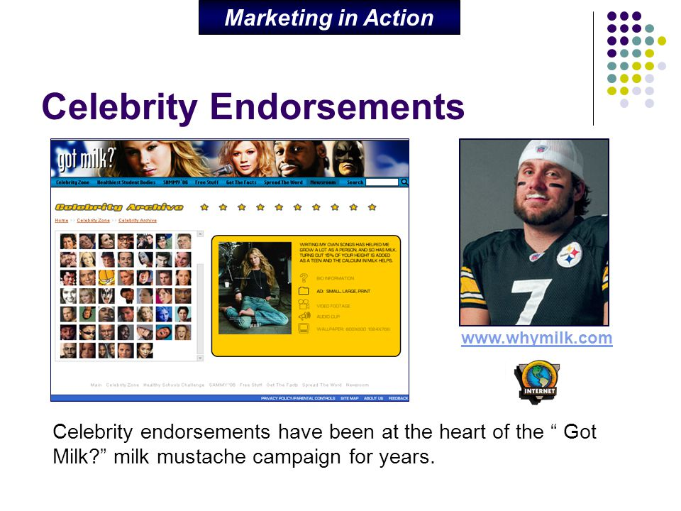 "Celebrity Endorsements Celebrity endorsements have been at the heart of the "" Got Milk?"" milk mustache campaign for years. Marketing in Action www.why"