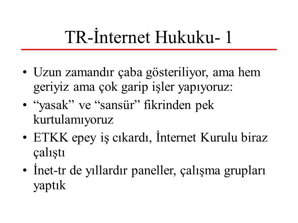TR-İnternet Hukuku- 1 Uzun zamandır çaba gösteriliyor, ama hem geriyiz ama çok garip işler yapıyoruz: yasak ve sansür fikrinden pek kurtulamıyoruz ETKK epey iş cıkardı, İnternet Kurulu biraz çalıştı İnet-tr de yıllardır paneller, çalışma grupları yaptık