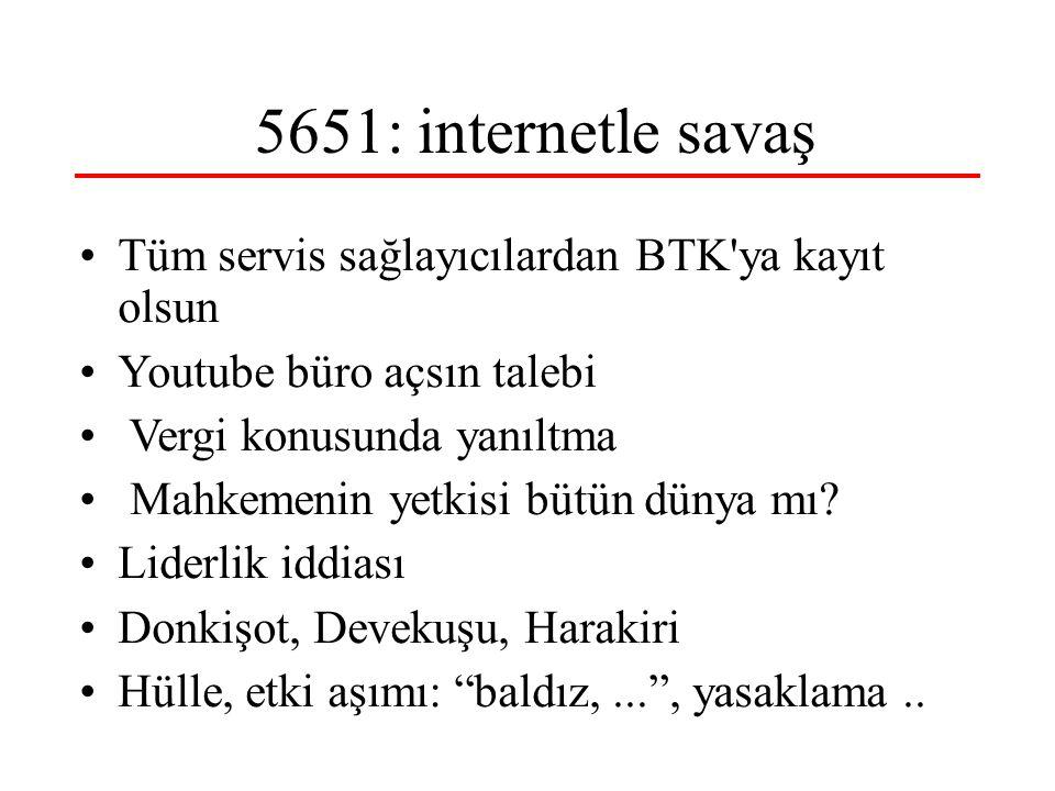 5651: internetle savaş Tüm servis sağlayıcılardan BTK ya kayıt olsun Youtube büro açsın talebi Vergi konusunda yanıltma Mahkemenin yetkisi bütün dünya mı.