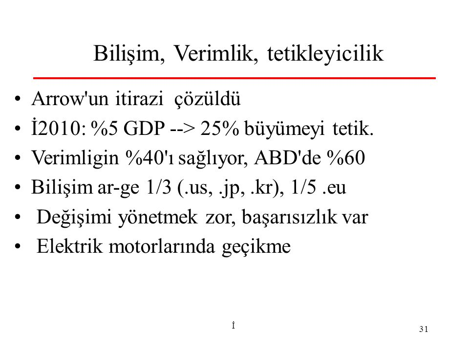 İ 31 Bilişim, Verimlik, tetikleyicilik Arrow un itirazi çözüldü İ2010: %5 GDP --> 25% büyümeyi tetik.