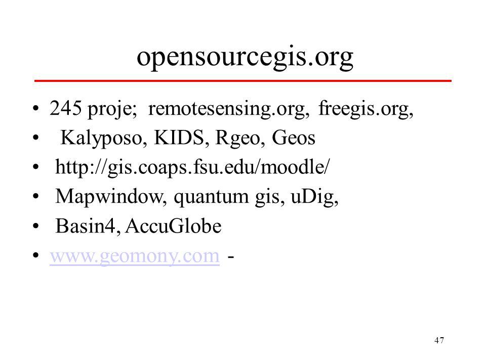 47 opensourcegis.org 245 proje; remotesensing.org, freegis.org, Kalyposo, KIDS, Rgeo, Geos http://gis.coaps.fsu.edu/moodle/ Mapwindow, quantum gis, uDig, Basin4, AccuGlobe www.geomony.com -www.geomony.com