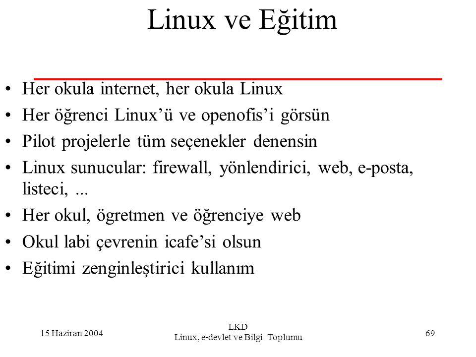 15 Haziran 2004 LKD Linux, e-devlet ve Bilgi Toplumu 69 Linux ve Eğitim Her okula internet, her okula Linux Her öğrenci Linux'ü ve openofis'i görsün Pilot projelerle tüm seçenekler denensin Linux sunucular: firewall, yönlendirici, web, e-posta, listeci,...
