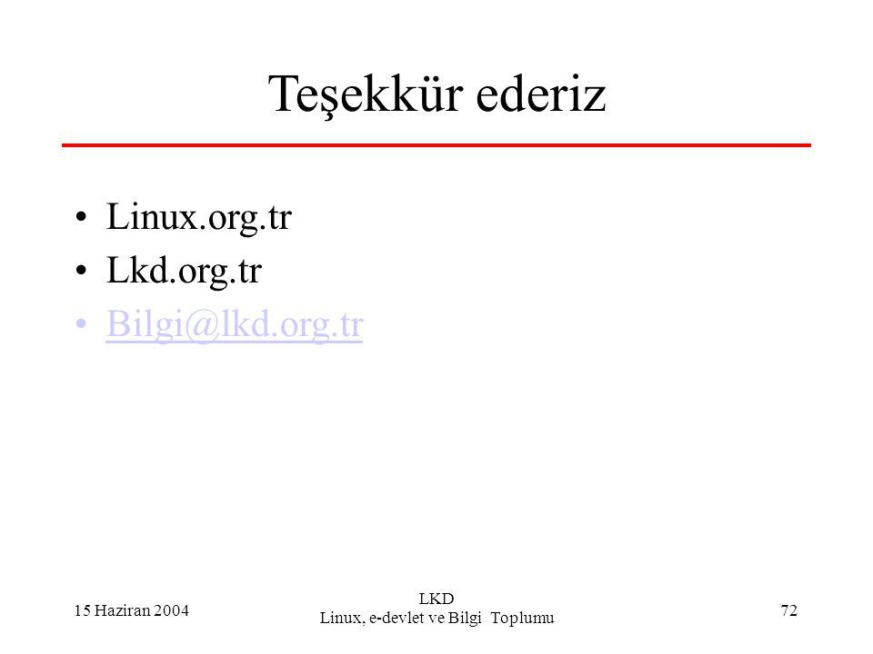 15 Haziran 2004 LKD Linux, e-devlet ve Bilgi Toplumu 72 Teşekkür ederiz Linux.org.tr Lkd.org.tr Bilgi@lkd.org.tr