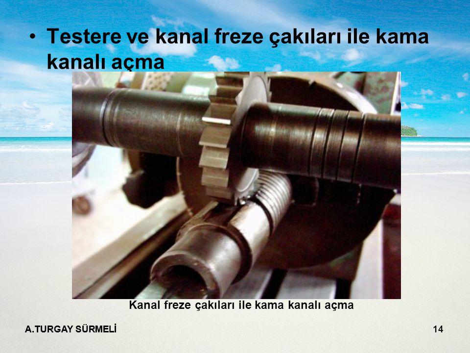 A.TURGAY SÜRMELİ 14 Testere ve kanal freze çakıları ile kama kanalı açma Kanal freze çakıları ile kama kanalı açma