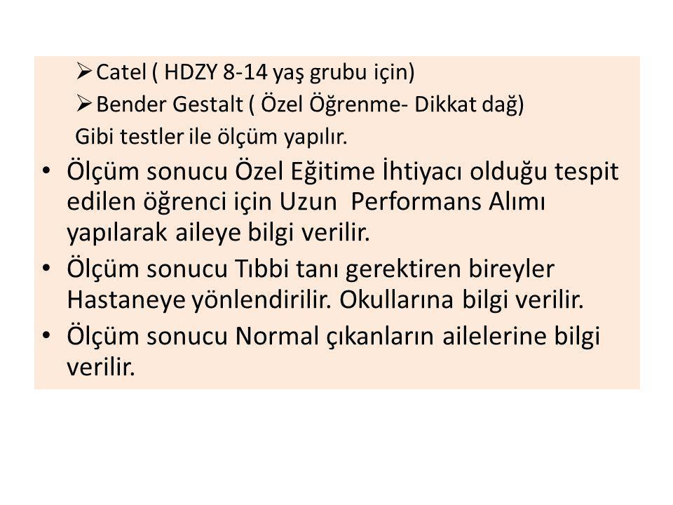  Catel ( HDZY 8-14 yaş grubu için)  Bender Gestalt ( Özel Öğrenme- Dikkat dağ) Gibi testler ile ölçüm yapılır.