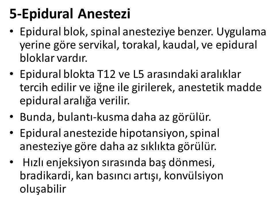5-Epidural Anestezi Epidural blok, spinal anesteziye benzer. Uygulama yerine göre servikal, torakal, kaudal, ve epidural bloklar vardır. Epidural blok