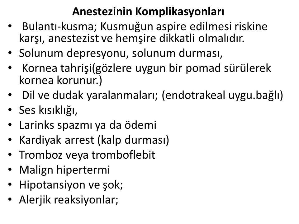 Anestezinin Komplikasyonları Bulantı-kusma; Kusmuğun aspire edilmesi riskine karşı, anestezist ve hemşire dikkatli olmalıdır. Solunum depresyonu, solu