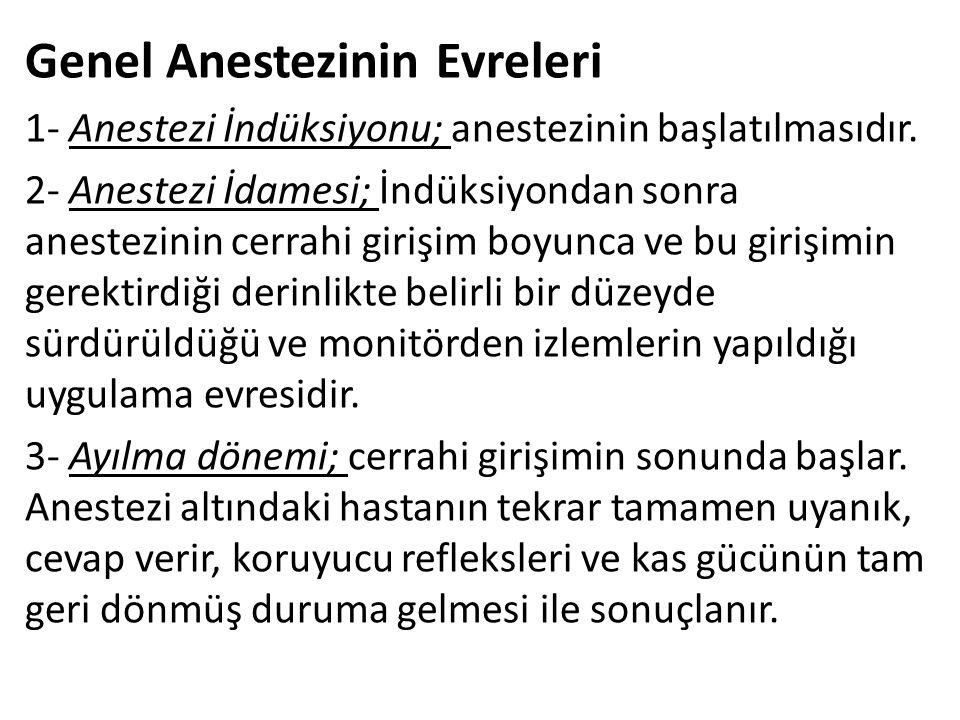 Genel Anestezinin Evreleri 1- Anestezi İndüksiyonu; anestezinin başlatılmasıdır. 2- Anestezi İdamesi; İndüksiyondan sonra anestezinin cerrahi girişim
