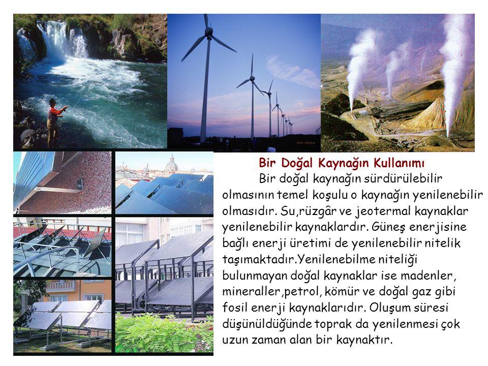 Bir Doğal Kaynağın Kullanımı Bir doğal kaynağın sürdürülebilir olmasının temel koşulu o kaynağın yenilenebilir olmasıdır.