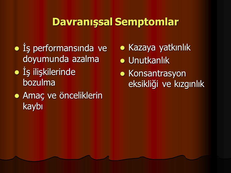 Davranışsal Semptomlar İş performansında ve doyumunda azalma İş performansında ve doyumunda azalma İş ilişkilerinde bozulma İş ilişkilerinde bozulma A
