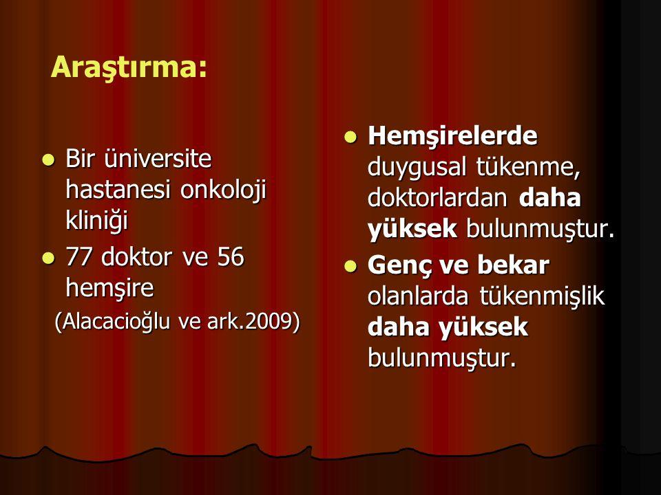 Bir üniversite hastanesi onkoloji kliniği Bir üniversite hastanesi onkoloji kliniği 77 doktor ve 56 hemşire 77 doktor ve 56 hemşire (Alacacioğlu ve ar
