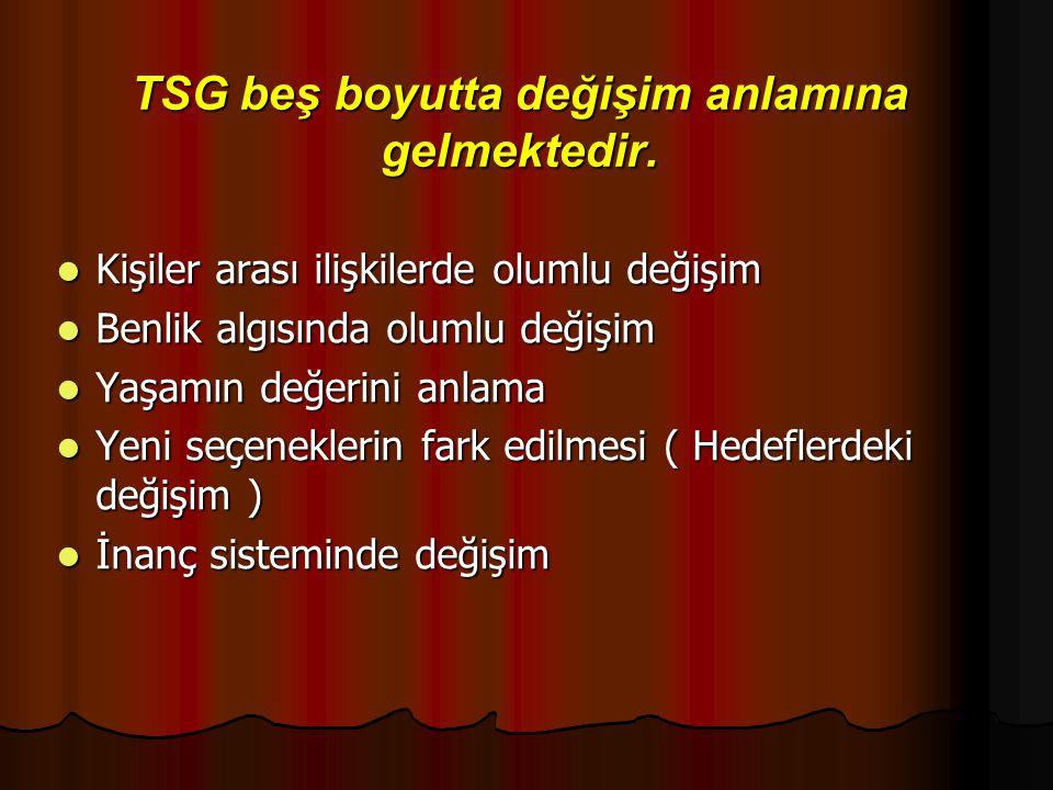 TSG beş boyutta değişim anlamına gelmektedir. Kişiler arası ilişkilerde olumlu değişim Kişiler arası ilişkilerde olumlu değişim Benlik algısında oluml