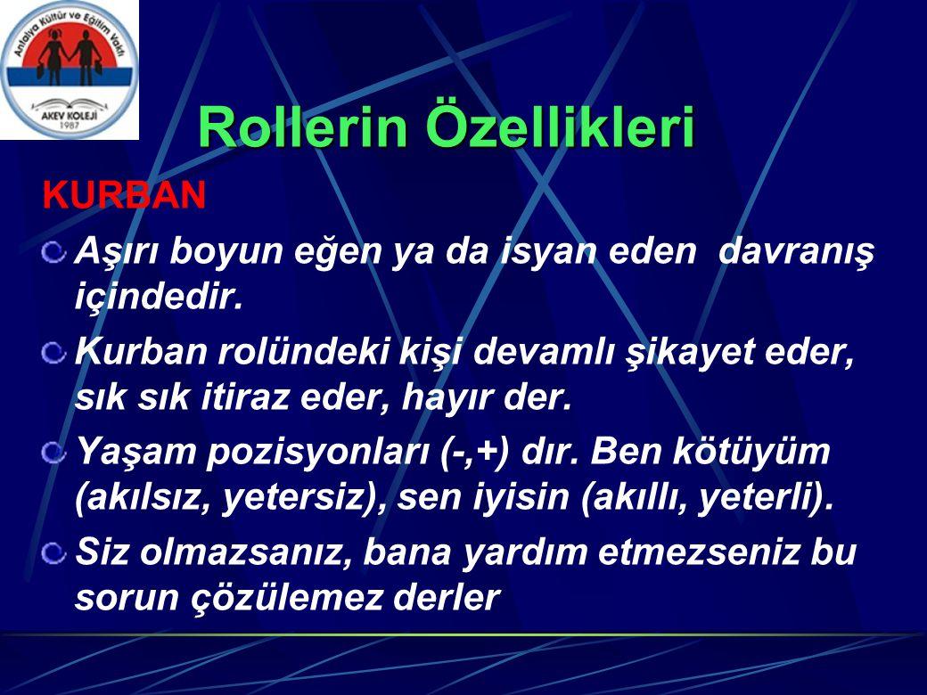 Rollerin Özellikleri KURBAN Aşırı boyun eğen ya da isyan eden davranış içindedir.