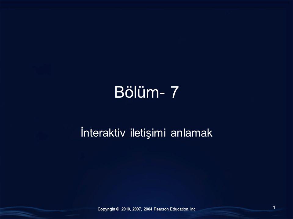 Copyright © 2010, 2007, 2004 Pearson Education, Inc Bölüm- 7 İnteraktiv iletişimi anlamak 1