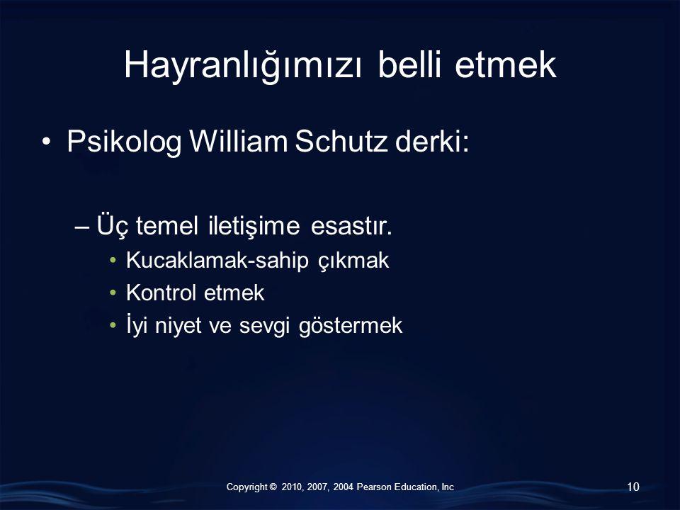 Copyright © 2010, 2007, 2004 Pearson Education, Inc Hayranlığımızı belli etmek Psikolog William Schutz derki: –Üç temel iletişime esastır. Kucaklamak-