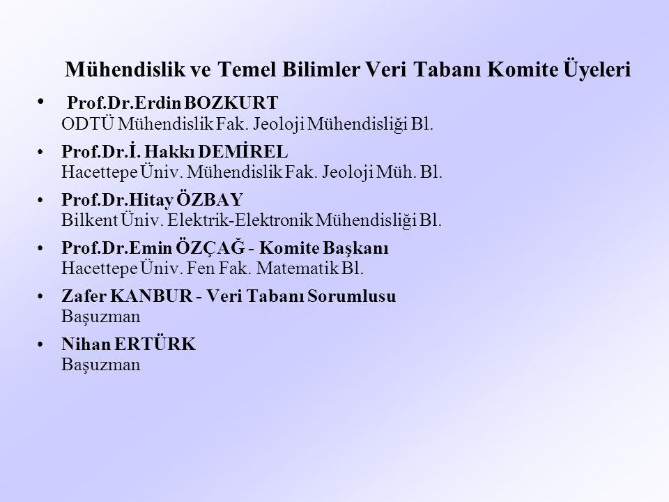 Mühendislik ve Temel Bilimler Veri Tabanı Komite Üyeleri Prof.Dr.Erdin BOZKURT ODTÜ Mühendislik Fak.