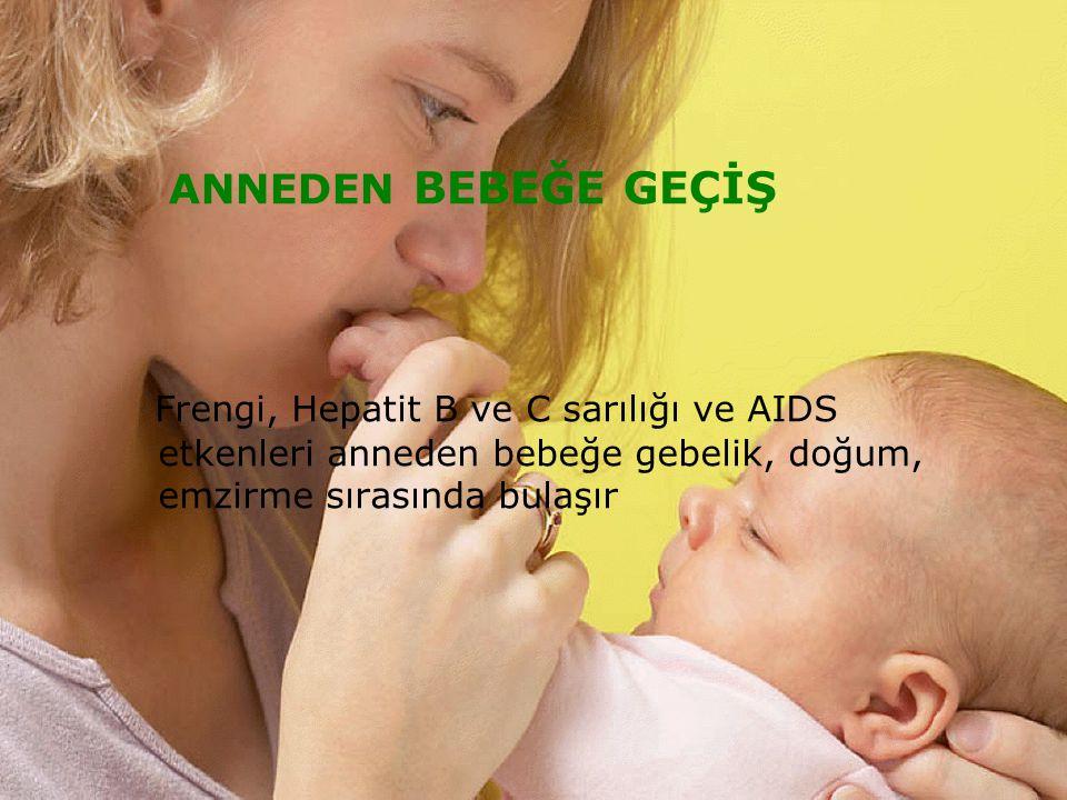 BURSASAĞLIKMÜDÜRLÜĞÜBURSASAĞLIKMÜDÜRLÜĞÜ ANNEDEN BEBEĞE GEÇİŞ Frengi, Hepatit B ve C sarılığı ve AIDS etkenleri anneden bebeğe gebelik, doğum, emzirme sırasında bulaşır