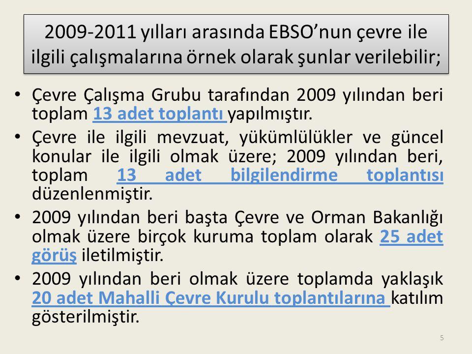 2009-2011 yılları arasında EBSO'nun çevre ile ilgili çalışmalarına örnek olarak şunlar verilebilir; Çevre Çalışma Grubu tarafından 2009 yılından beri