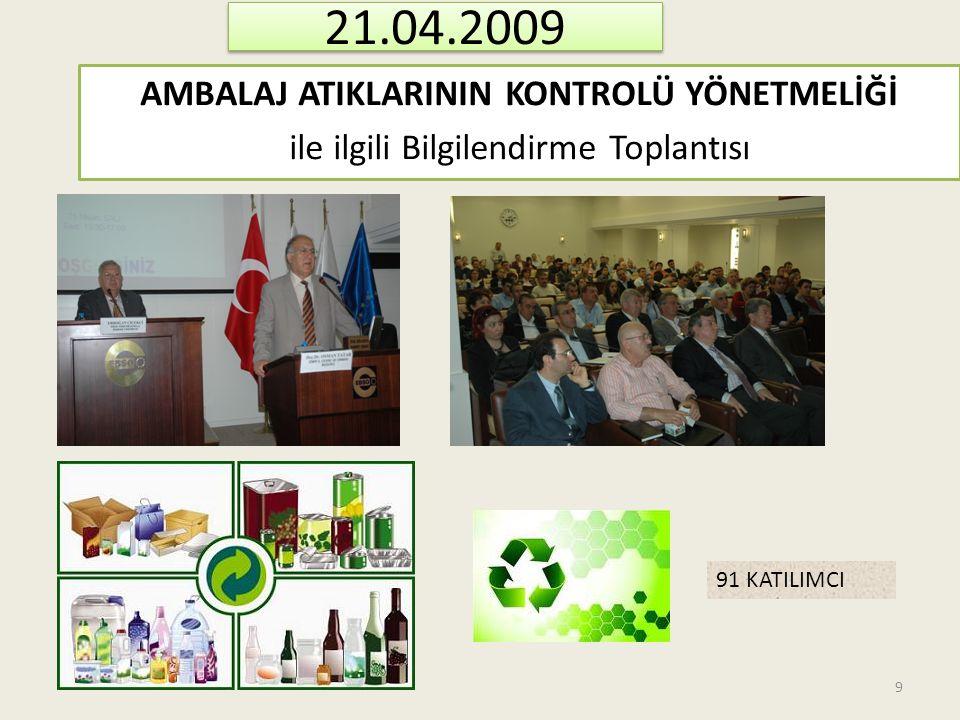 21.04.2009 AMBALAJ ATIKLARININ KONTROLÜ YÖNETMELİĞİ ile ilgili Bilgilendirme Toplantısı 91 KATILIMCI 9