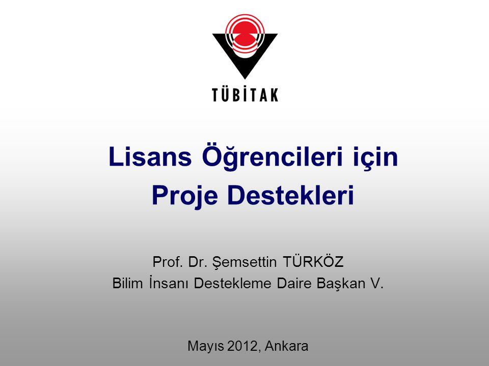 Prof. Dr. Şemsettin TÜRKÖZ Bilim İnsanı Destekleme Daire Başkan V. Mayıs 2012, Ankara Lisans Öğrencileri için Proje Destekleri