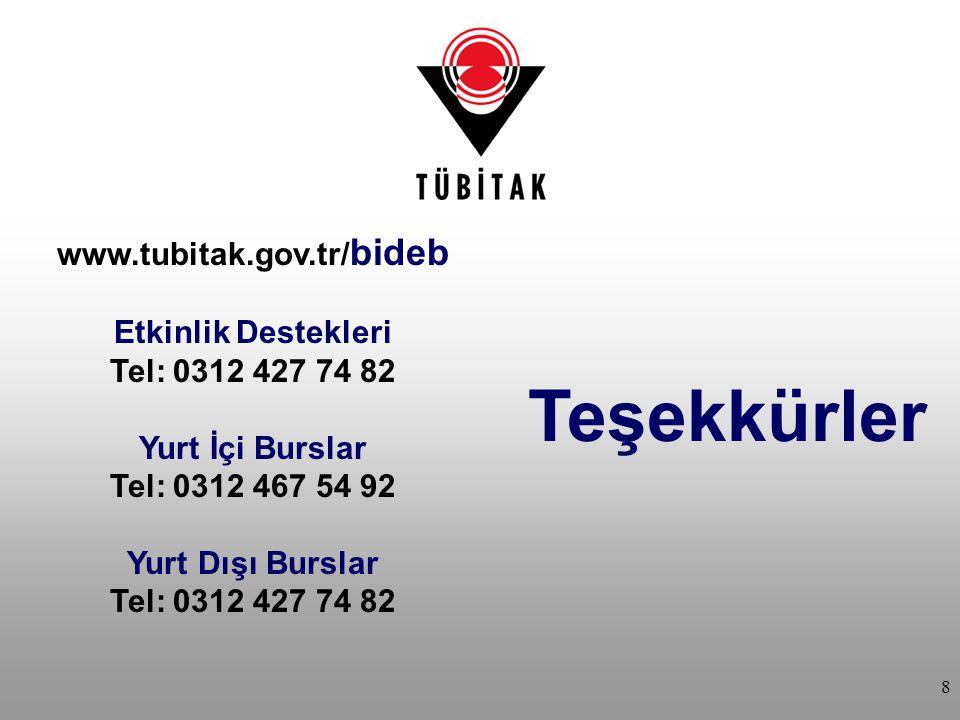Teşekkürler www.tubitak.gov.tr/ bideb Etkinlik Destekleri Tel: 0312 427 74 82 Yurt İçi Burslar Tel: 0312 467 54 92 Yurt Dışı Burslar Tel: 0312 427 74