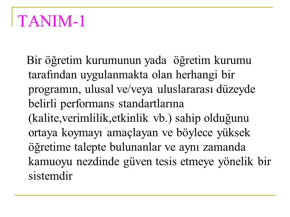 TANIM-1 Bir öğretim kurumunun yada öğretim kurumu tarafından uygulanmakta olan herhangi bir programın, ulusal ve/veya uluslararası düzeyde belirli per