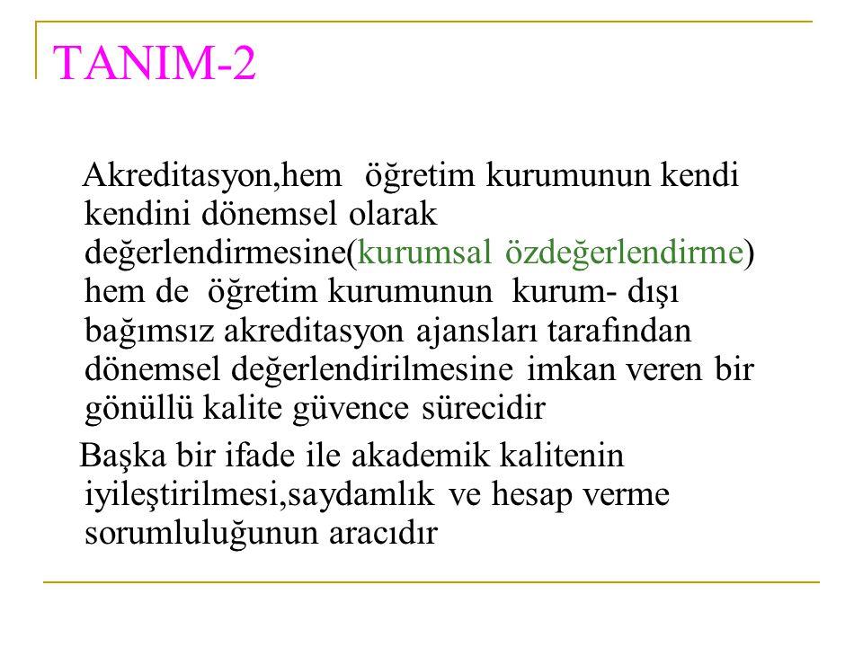 TANIM-2 Akreditasyon,hem öğretim kurumunun kendi kendini dönemsel olarak değerlendirmesine(kurumsal özdeğerlendirme) hem de öğretim kurumunun kurum- d