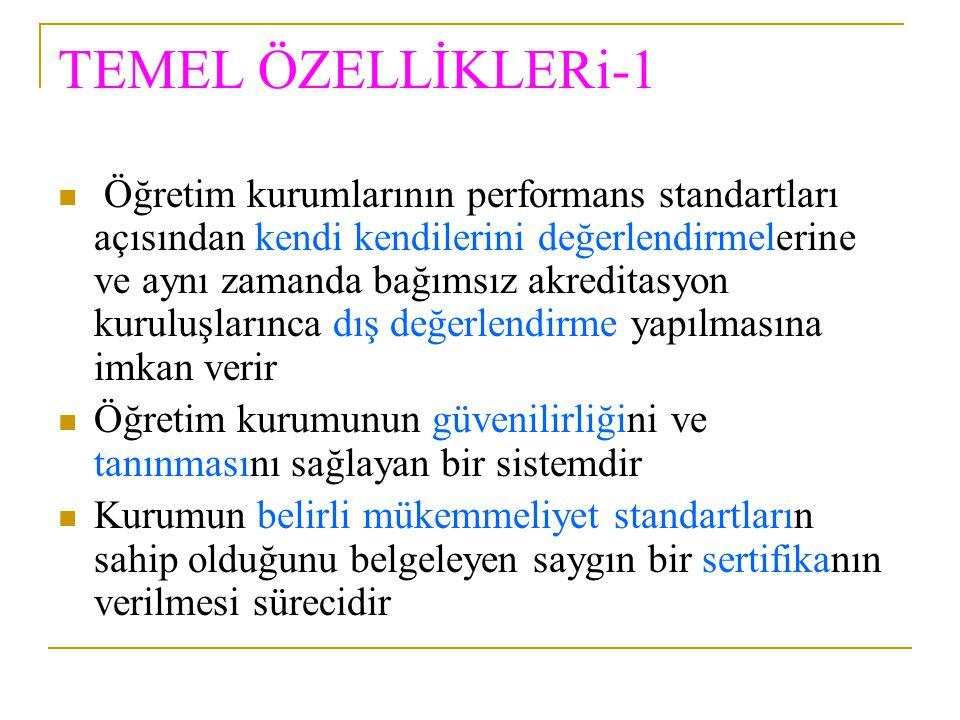 TEMEL ÖZELLİKLERi-1 Öğretim kurumlarının performans standartları açısından kendi kendilerini değerlendirmelerine ve aynı zamanda bağımsız akreditasyon