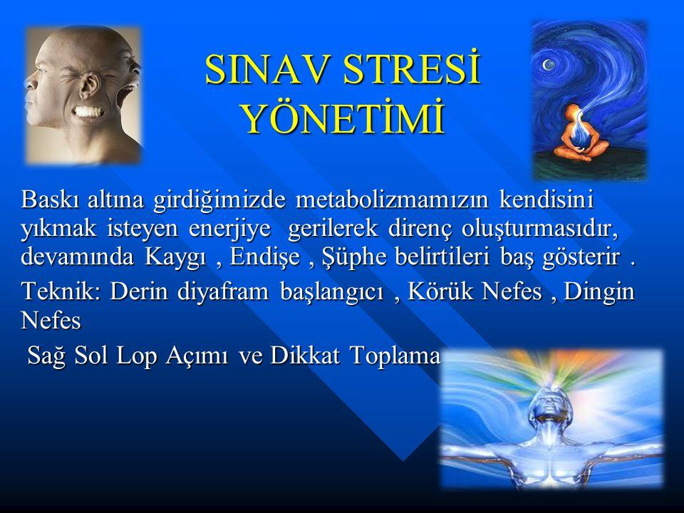 SINAV STRESİ YÖNETİMİ Baskı altına girdiğimizde metabolizmamızın kendisini yıkmak isteyen enerjiye gerilerek direnç oluşturmasıdır, devamında Kaygı, E