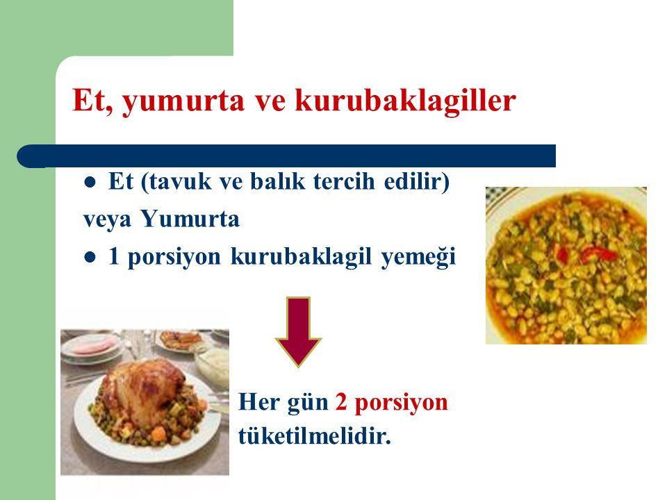 Et, yumurta ve kurubaklagiller Et (tavuk ve balık tercih edilir) veya Yumurta 1 porsiyon kurubaklagil yemeği Her gün 2 porsiyon tüketilmelidir.