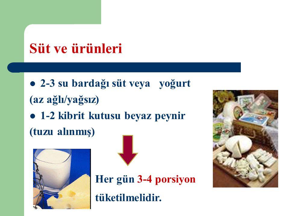 Süt ve ürünleri 2-3 su bardağı süt veya yoğurt (az ağlı/yağsız) 1-2 kibrit kutusu beyaz peynir (tuzu alınmış) Her gün 3-4 porsiyon tüketilmelidir.