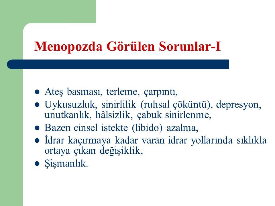 Menopozda Görülen Sorunlar-II Kemik erimesi (osteoporoz), Damar sertliği (ateroskleroz), Cinsel organlarda çekilme (atrofi), kuruluk, ağrılı ilişki, Menopozda görülen en önemli sorun osteoporozdur.