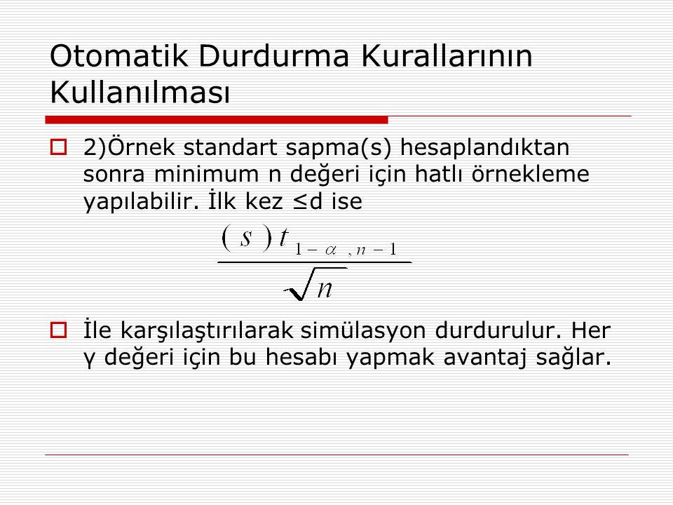 Otomatik Durdurma Kurallarının Kullanılması  2)Örnek standart sapma(s) hesaplandıktan sonra minimum n değeri için hatlı örnekleme yapılabilir. İlk ke