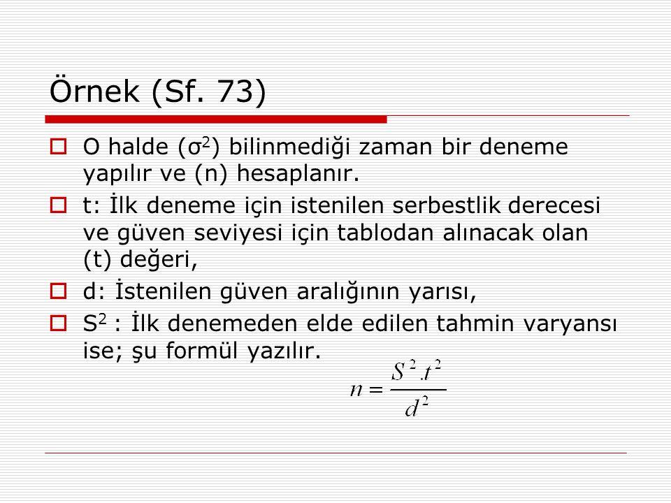 Örnek (Sf. 73)  O halde (σ 2 ) bilinmediği zaman bir deneme yapılır ve (n) hesaplanır.  t: İlk deneme için istenilen serbestlik derecesi ve güven se