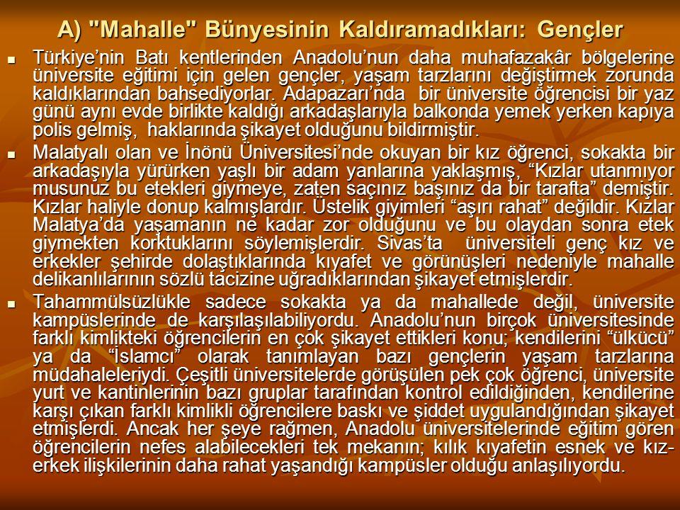 A) Mahalle Bünyesinin Kaldıramadıkları: Gençler Türkiye'nin Batı kentlerinden Anadolu'nun daha muhafazakâr bölgelerine üniversite eğitimi için gelen gençler, yaşam tarzlarını değiştirmek zorunda kaldıklarından bahsediyorlar.