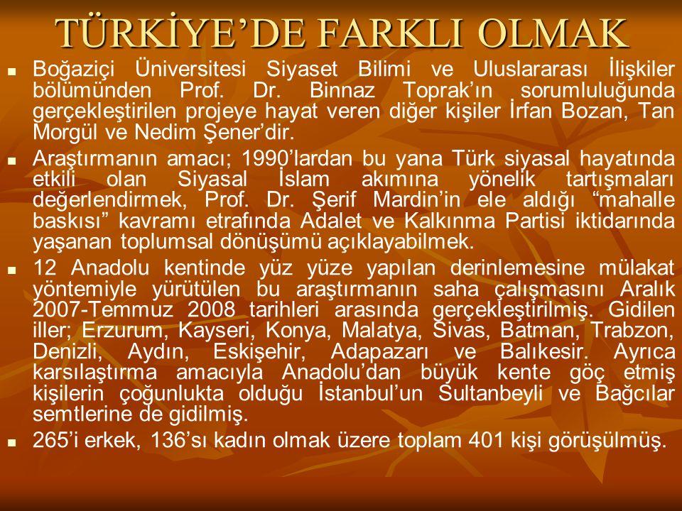 TÜRKİYE'DE FARKLI OLMAK Boğaziçi Üniversitesi Siyaset Bilimi ve Uluslararası İlişkiler bölümünden Prof.