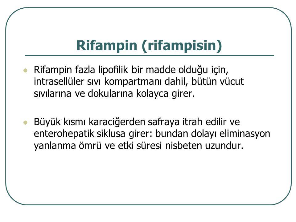 Rifampin (rifampisin) Rifampin fazla lipofilik bir madde olduğu için, intrasellüler sıvı kompartmanı dahil, bütün vücut sıvılarına ve dokularına kolay
