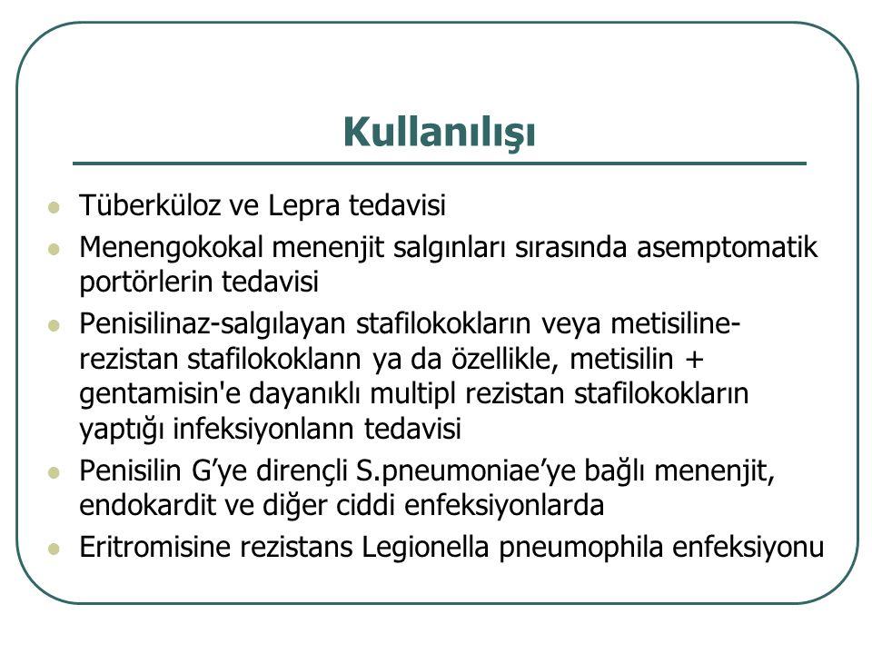 Kullanılışı Tüberküloz ve Lepra tedavisi Menengokokal menenjit salgınları sırasında asemptomatik portörlerin tedavisi Penisilinaz-salgılayan stafiloko