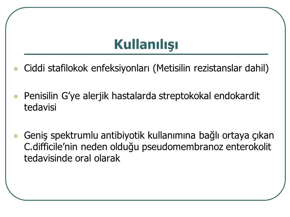 Kullanılışı Ciddi stafilokok enfeksiyonları (Metisilin rezistanslar dahil) Penisilin G'ye alerjik hastalarda streptokokal endokardit tedavisi Geniş sp
