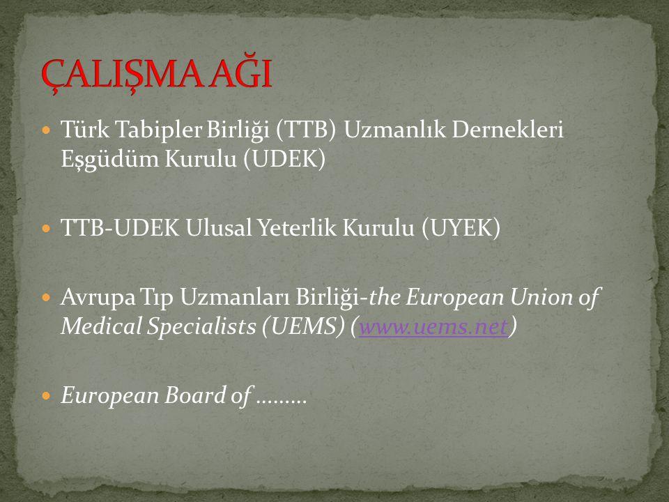 Türk Tabipler Birliği (TTB) Uzmanlık Dernekleri Eşgüdüm Kurulu (UDEK) TTB-UDEK Ulusal Yeterlik Kurulu (UYEK) Avrupa Tıp Uzmanları Birliği-the European