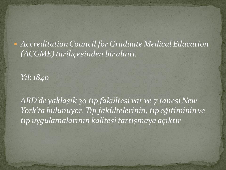 Accreditation Council for Graduate Medical Education (ACGME) tarihçesinden bir alıntı. Yıl: 1840 ABD'de yaklaşık 30 tıp fakültesi var ve 7 tanesi New