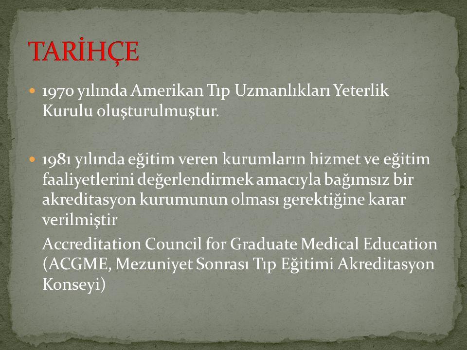 1970 yılında Amerikan Tıp Uzmanlıkları Yeterlik Kurulu oluşturulmuştur. 1981 yılında eğitim veren kurumların hizmet ve eğitim faaliyetlerini değerlend