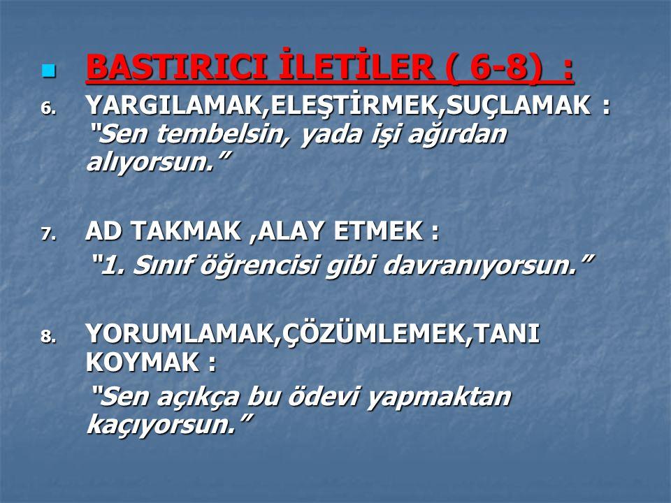 BASTIRICI İLETİLER ( 6-8) : BASTIRICI İLETİLER ( 6-8) : 6.