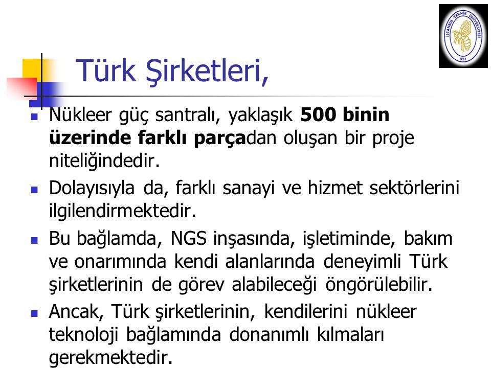 Türk Şirketleri, Nükleer güç santralı, yaklaşık 500 binin üzerinde farklı parçadan oluşan bir proje niteliğindedir. Dolayısıyla da, farklı sanayi ve h